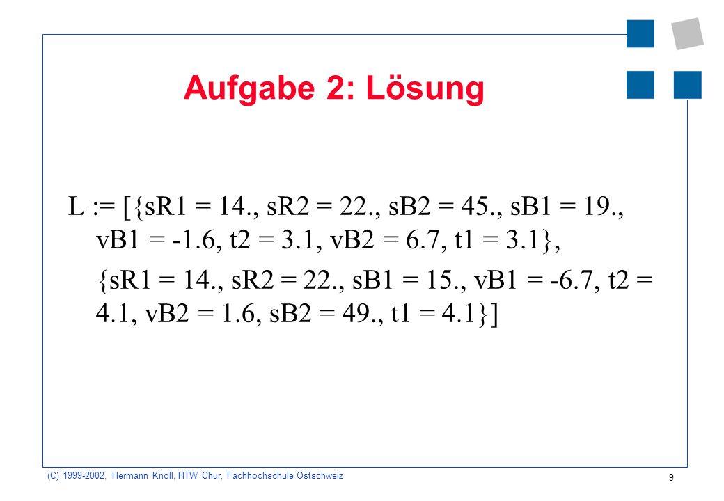 Aufgabe 2: Lösung L := [{sR1 = 14., sR2 = 22., sB2 = 45., sB1 = 19., vB1 = -1.6, t2 = 3.1, vB2 = 6.7, t1 = 3.1},